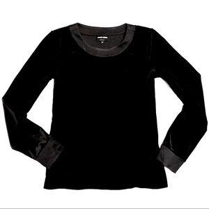 Giorgio Armani velvet &silk long-sleeved blouse 44